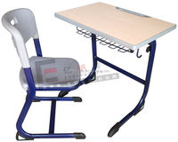 Top quality school furniture table and chair/school kids wooden steel single desk and chair/middle school desk and chair