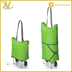 China supplier cheap waterproof folding shopping trolley bag with 2 wheels