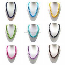 Hot sales charming new style giveaway promotional colorful bead silicone necklace,silicone baby teething necklace wholesale