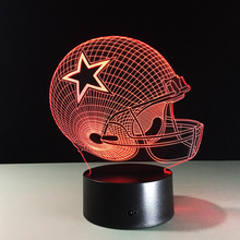 customized style 3d effect acrylic optical art color change Dallas Cowboys led night light