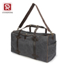 China black canvas weekend travel bags for men with genuine leather trim supplier