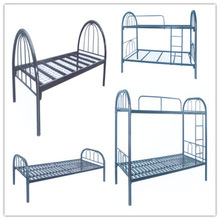 Hotel powder coating black metal double bunk bed knock down military hotel metal bed frame