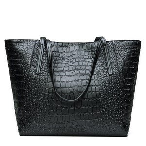 Hot selling new Vintage Women's handbags leather and cowhide handbag genuine Leather tote bag Crocodile Grained Soft Leather