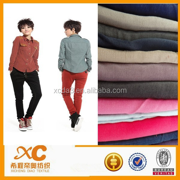 100% cotton stripe fabric for lady's corduroy pants