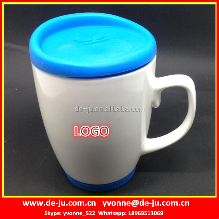 White Ceramic Coffee Mug With Silicone Lid