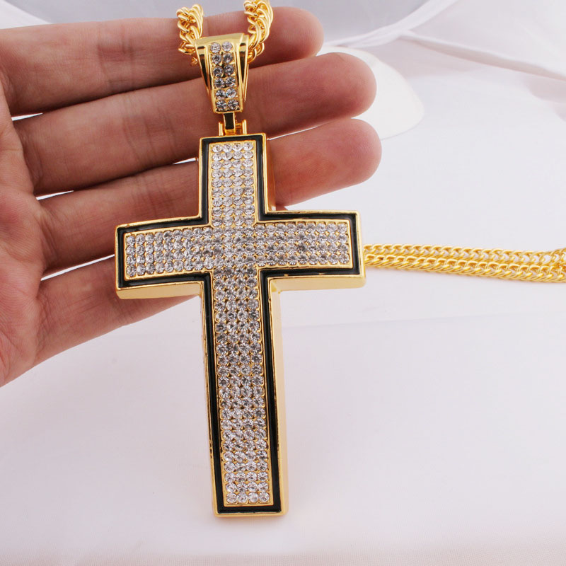 Manufacturers wholesale hip hop star street metal alloy crystal unique cross jewelry <strong>necklace</strong>