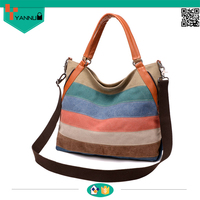 fashion vintage handbag canvas wholesale tote bags with shoulder strap bags for girl
