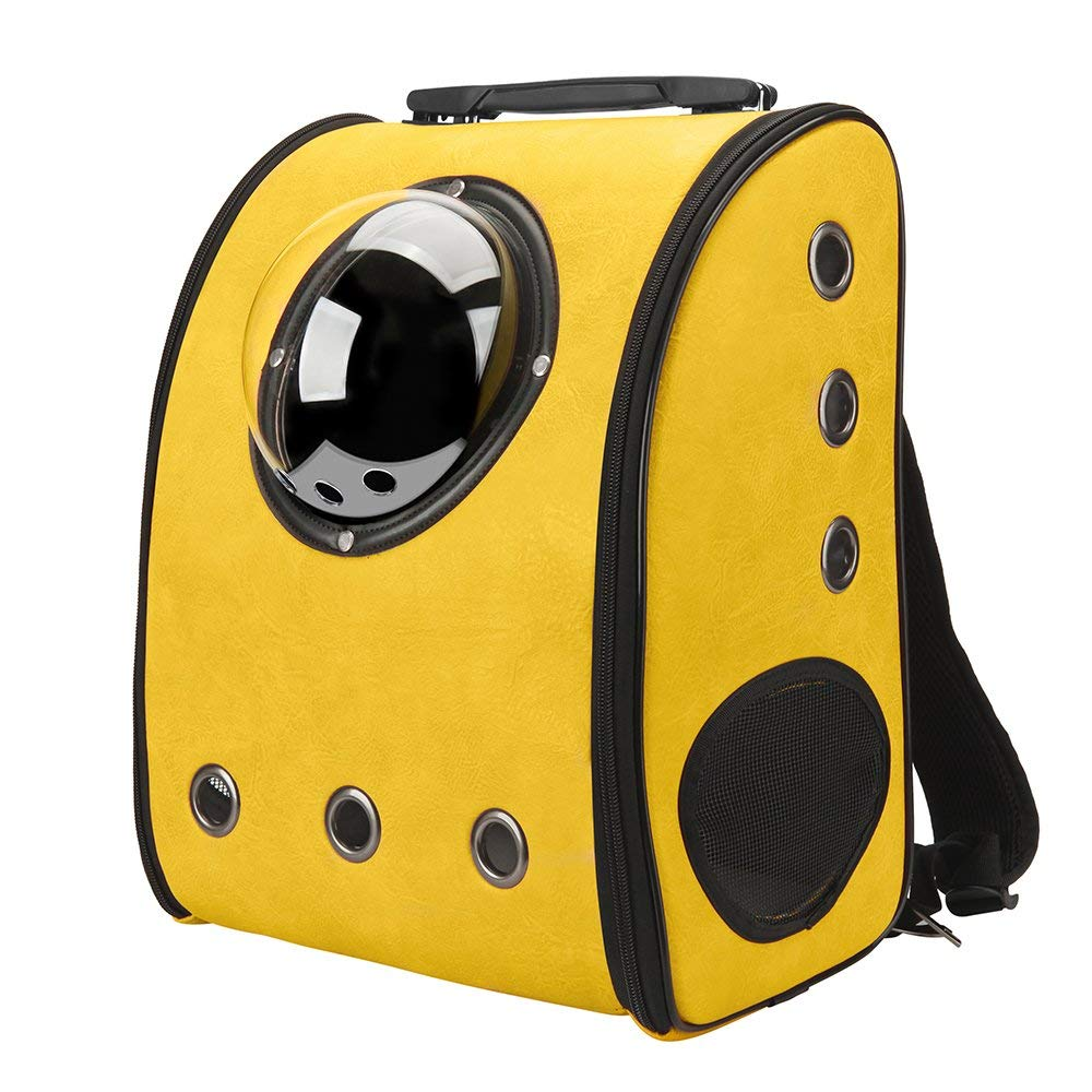 Pet Carrier Backpack Space Capsule PU Leather Dog Cat Small Animals Travel Bag Yellow