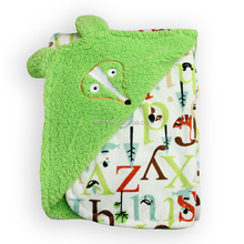individuality design skin friendly soft texture print letter lovely animal head pattern fleece baby blanket