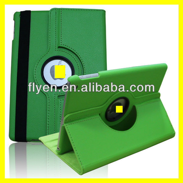 Green Case For Apple iPad 5 Air 360 Degree Rotating PU Leather Cover Stand