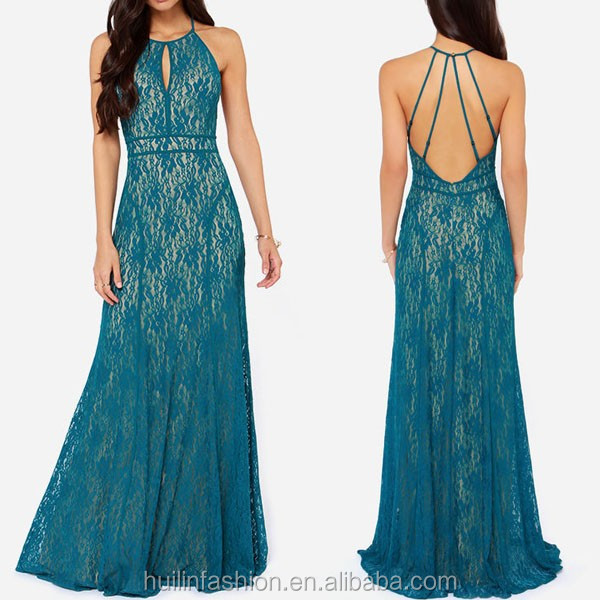 Teal Blue Lace party maxi backless dress