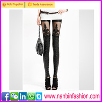Wholesale sexy newest disign see-through belt black leggings for ladies