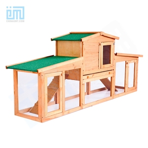 GMT60005 China Ningbo pet factory hot sale Luxury Outdoor wooden Green paint cheap Big Rabbit Cage
