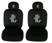 Premium Crystal gem low back universal seat covers - Crown on Cat