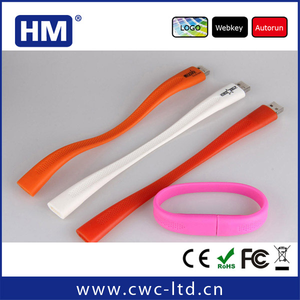 2014 new Silicone Slap Wrist Band Bracelet USB Flash Drive for best business gifts promotional