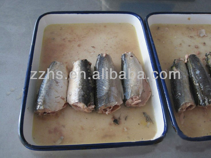 Canned mackerel fish in brine