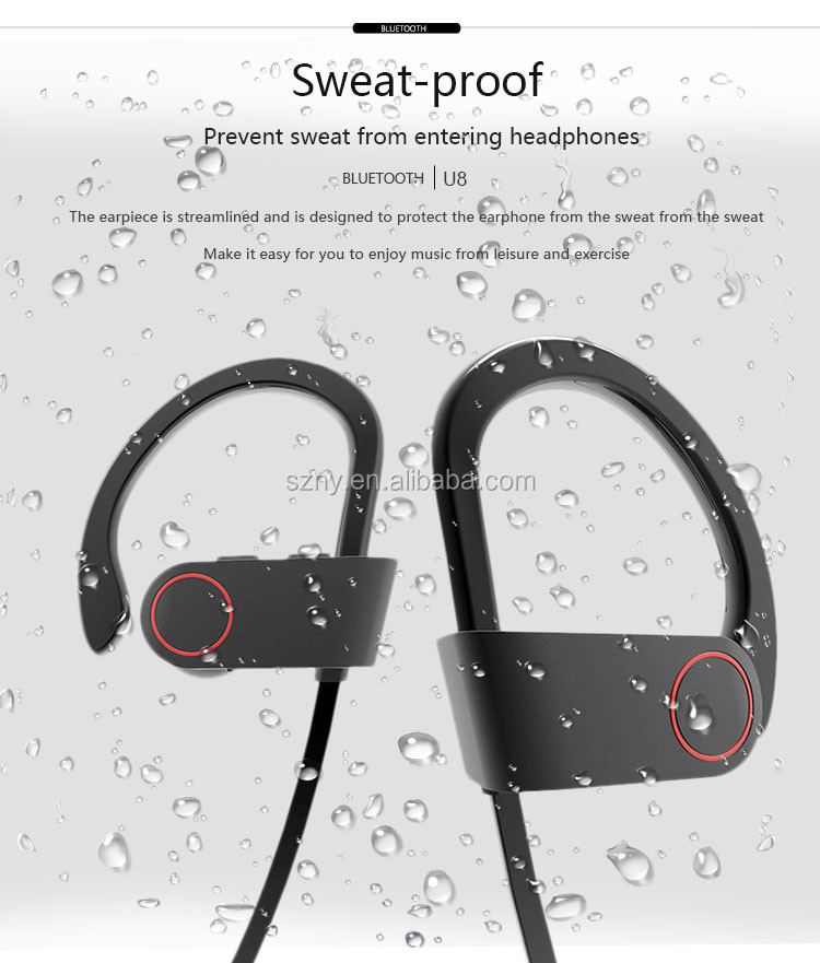 Wireless Sports Earbuds Sweatproof Earphones with Microphone Noise Cancelling and Secure Ear Hooks for Gym Running Workout