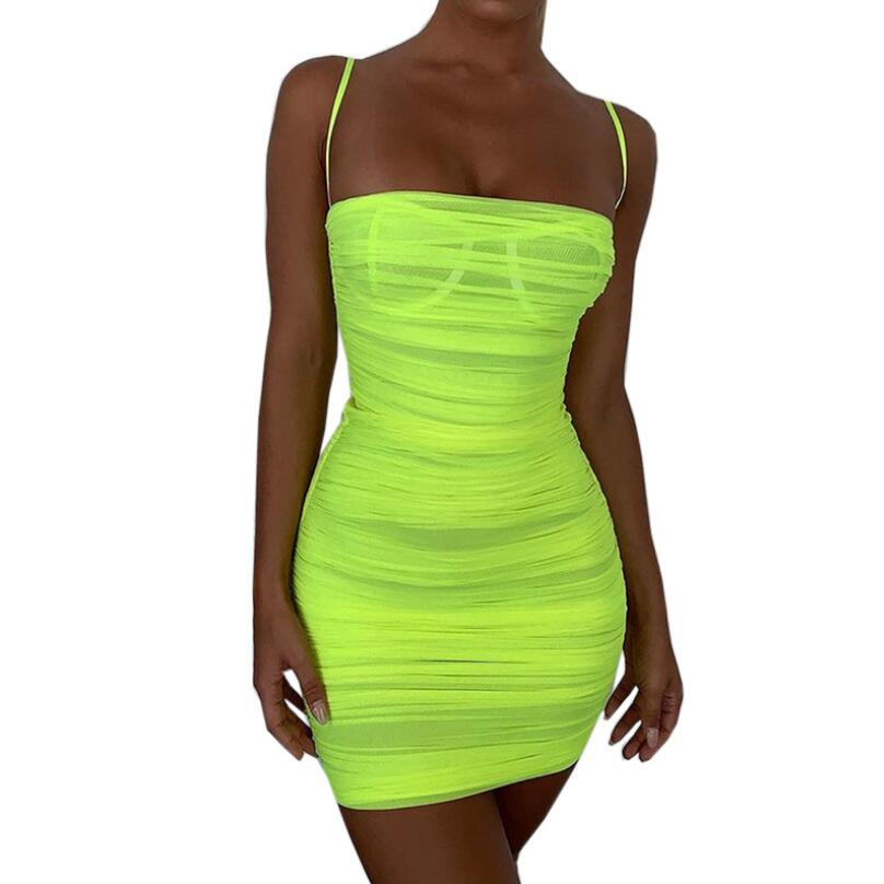 5 Color Double Layers Mesh Summer Dresses Women Bodycon Ruched Woman Party Night Club Neon Dress Sexy Y11985
