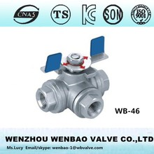 WB-46 Female threaded 3-way T type ball valves with butterfly handle
