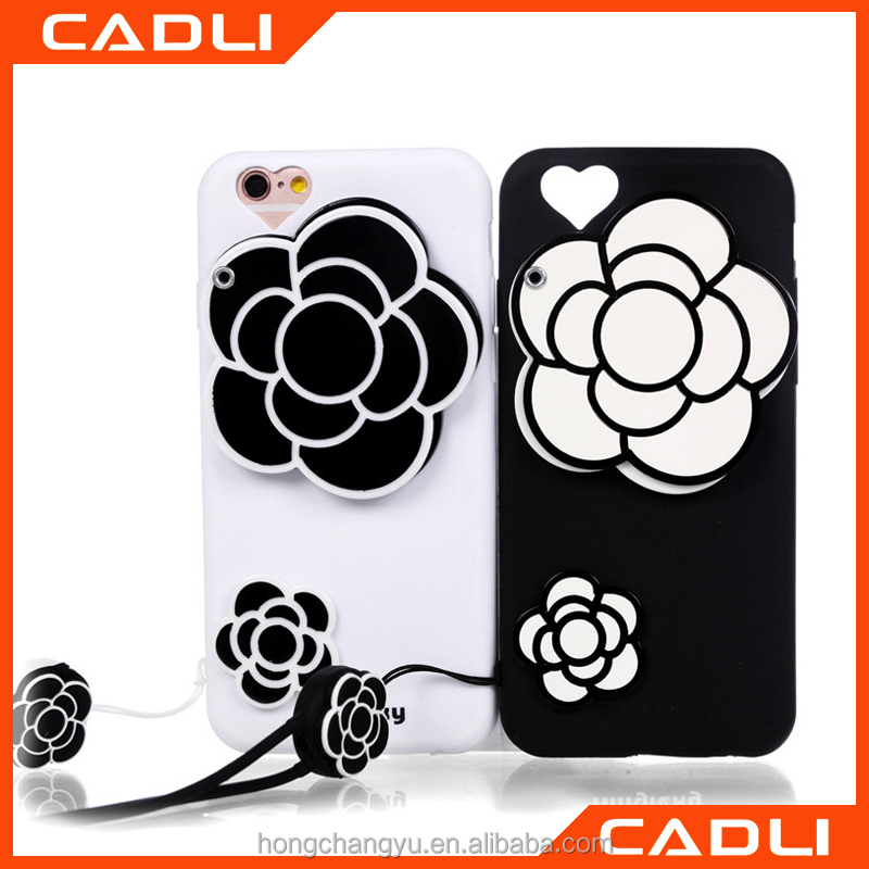 2016 Luxury 3d flower Case For iphone5 5G 5SE girls ladys camellia plant back cover