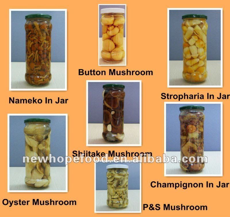 Various Of Canned Jar Mushroom In Brine