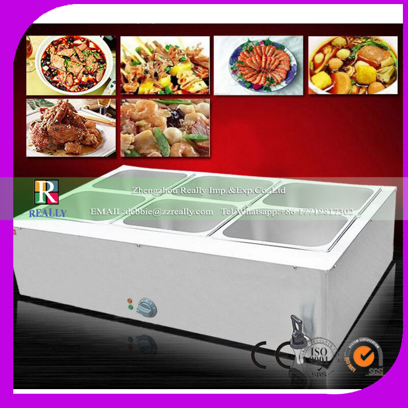 1 PC stainless steel electric bain marie with 6 pans for commercial kitchen Insulated electric <strong>food</strong> warmer