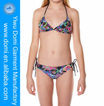 Domi little girls sexy removable foam cups and silver embroidery kids thong bikini