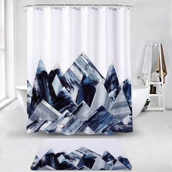 Water-Repellent Fabric Custom Print Shower Curtain Mildew-Resistant Machine Washable White Bathroom Shower Curtains