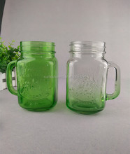 hot sale 16oz square green glass mason jar beer mug with handle wholesale