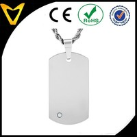 2015 New Products Factory Direct Sale Cheap Tungsten Carbide Dog Tag with CZ on 24 Inch Rope Chain