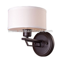 UL CUL Listed Oiled Bronze Modern Wall Lamp With Fabric Shade W80463