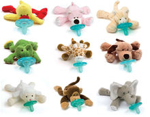 Free sample Plush unique baby funny cute animal disposable pacifiers safety products with toys