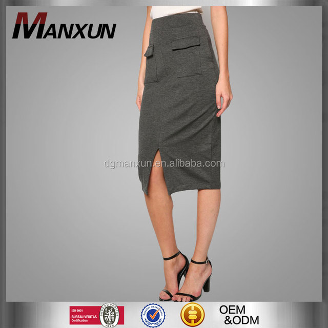 Exquisite midi length grey patch pocket elegant high-waisted tight pencil skirt