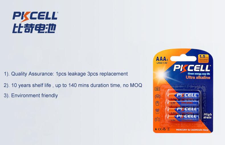 10 anos de vida útil 140 minutos livres de Mercúrio LR03 AM4 bateria alcalina de 1.5 v AAA recarregável não