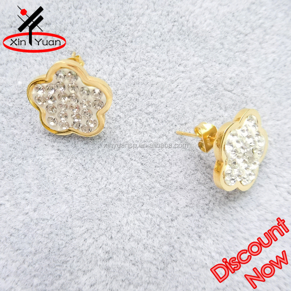 2015 hot sale one gram gold earrings designs jewelry with rhinestones