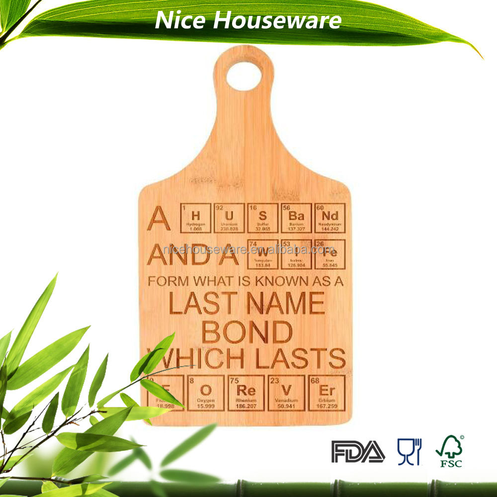 wedding Engagement Gift Personalized Paddle Shaped Bamboo Cutting Board with laser logo