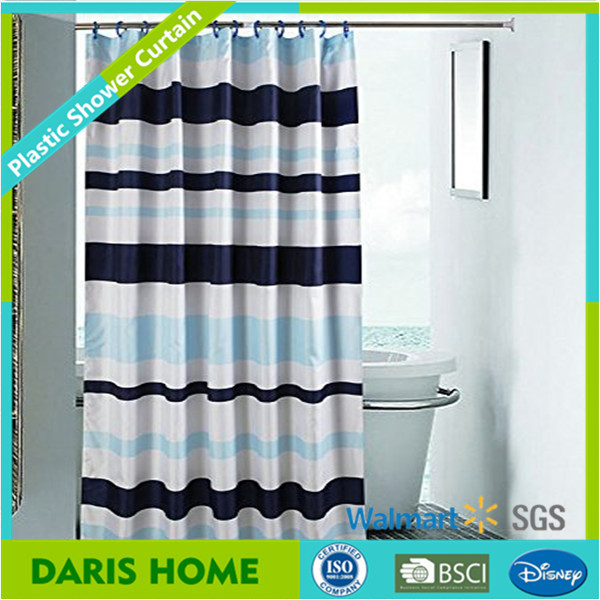Ready Made Transparent Geometry Printing PEVA Shower Curtain With Lines