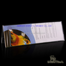 Durable business card holder sign display clear plastic table tent V shape acrylic ticker holder