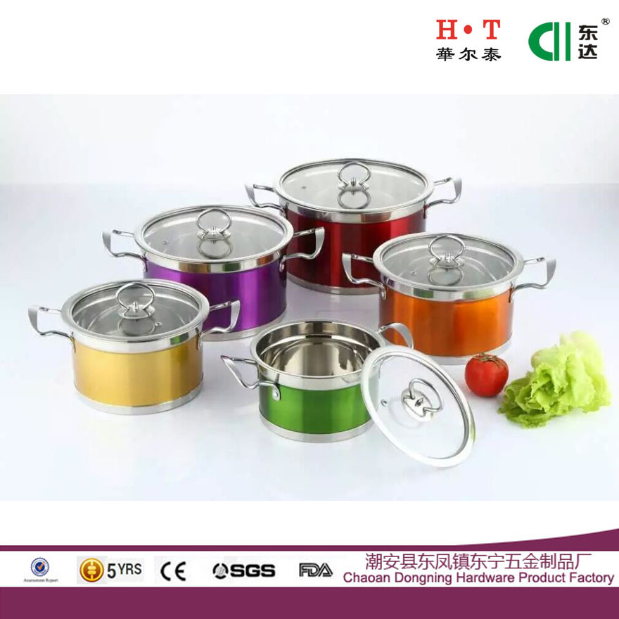 Stainless steel color right angle pot set soup pot