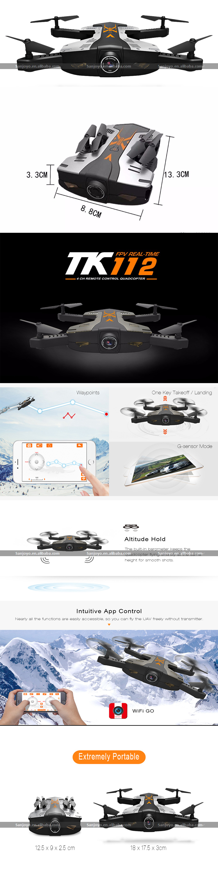 Latest Portable TK112W Foldable RC Drone RTF WiFi FPV 720P HD G-Sensor Mode Way points 360 Rotation Altitude Hold SJY-TK112HW