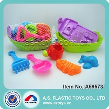 Summer beach tool toy set 7pcs plastic mini toy sand boat