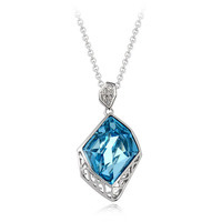 Fashion necklace with Blue Crystal Alloy with 18K gold plated pendant necklace