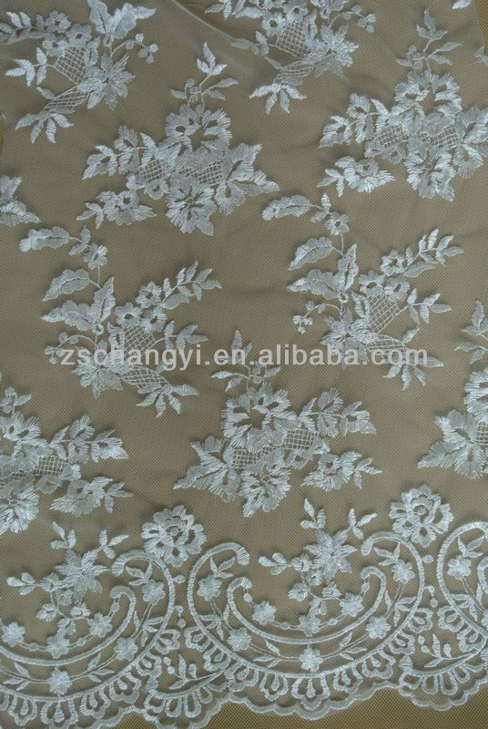 continuous organza embroidery lace curtain fabric