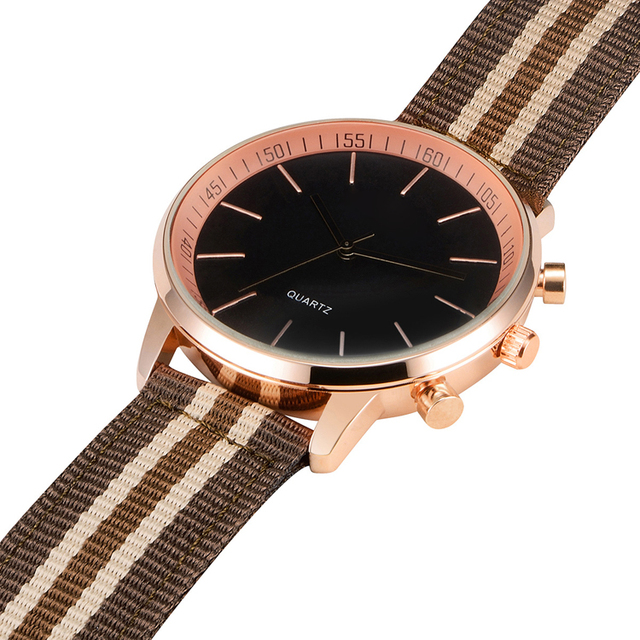 Large size rose gold men watch with nylon strap popular in North Europe