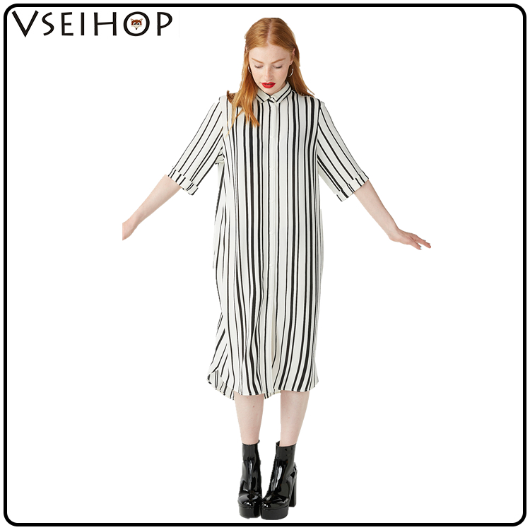 2017 Chinese clothing manufacturers wholesale OEM short sleeve loose stripe woman long maxi dress