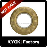 KYOK factory price gold ingot pattern curtain rings, luxurious home decorative 70mm curtain eyelet, metal curtain pole accessory