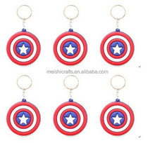 cartoon Captain America logo Keychain PVC Key Chains kids gift toy