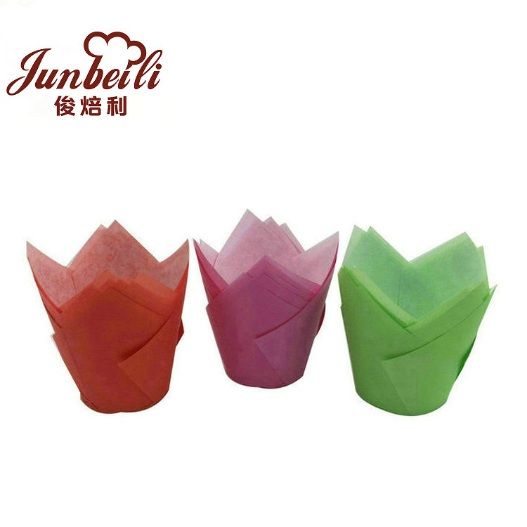High quality food grade paper baking colorful cupcake tulip baking cups