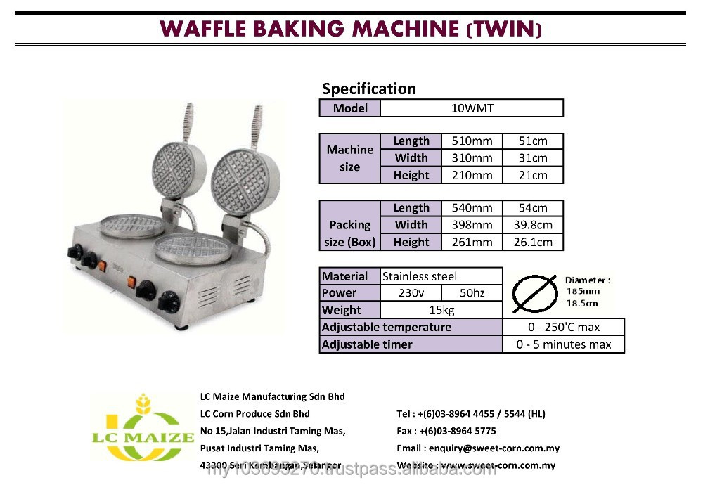 Waffle Baking Machine (Twin Burner)