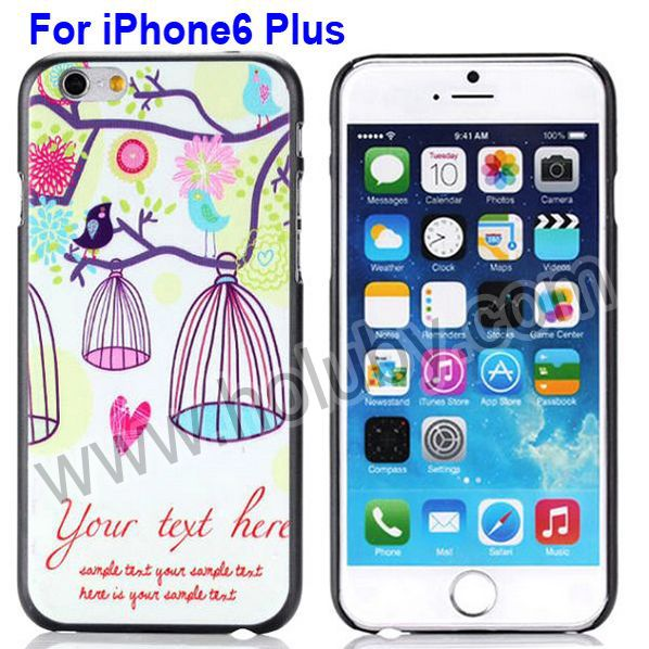 Flower Tree & Bird Cage Pattern PC Hard Case for iPhone 6 Plus 5.5 inch